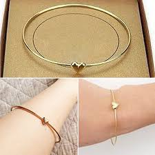 heart charm bangle bracelet images Women 39 s gold toned slim bracelet love heart charm bangle fashion jpg