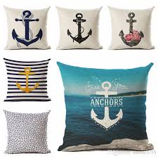 nautical anchor decor vintage cushion cover shabby chic throw