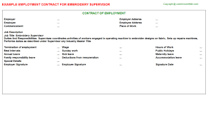 embroidery supervisor employment contract