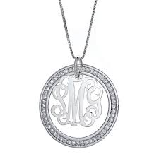 three letter monogram cz halo script 925 sterling silver three letter monogram pendant