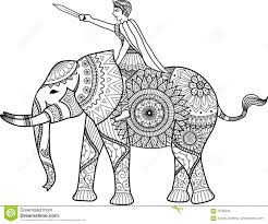 zentangle sylized of warrior riding elephant coloring book for