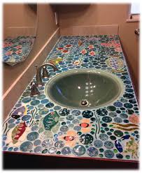 Ceramic Tile Kitchen Countertops by Bathroom Ceramic Tile Mosaic Counter Top Bathrooms Pinterest