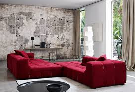 Red Round Coffee Table - living room creative wall living room design with low red sofa