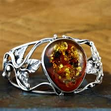 natural amber bracelet images Ornate baltic amber and silver cuff bracelet jpg