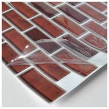 Kitchen Backsplash Stick On Peel And Stick Brick Backsplash Tiles Kitchen Smart Tiles 5 8 Sq