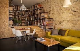 interior apartment design ideas with brick wall design and yellow