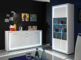 Sideboard Esszimmer Design Sideboard Kommode Weiß Hochglanz Rillenoptik Led