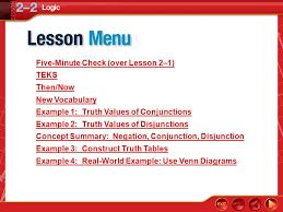 logic lesson 2 u20132 lesson menu five minute check over lesson 2 u20131