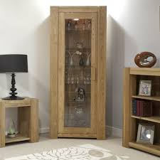 Wood Display Cabinets With Glass Doors Furniture Oak Wood Display Cabinet With Glass Door Added Open