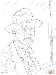 edward hopper self portrait coloring page free printable