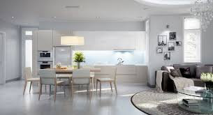 beautiful open plan kitchen design with white kitchen cabinet and