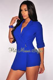 royal blue jumpsuit blue trench romper