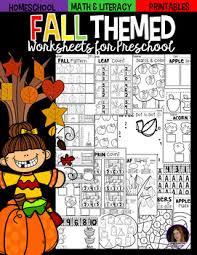 preschool literacy worksheets fall math and literacy worksheets for preschool by kindergarten rocks