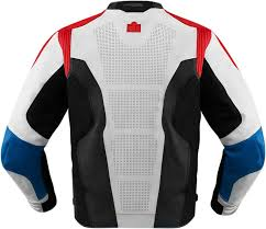 white motorcycle jacket icon hypersport glory leather jacket red white and blue all sizes