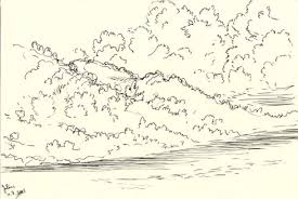 drawing of side of inch island as if it were made of clouds inch