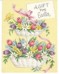 basket of flowers vintage easter card two tier basket of flowers gatto mid century