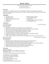 Stand Out Resume Resume Sample Resume Nanny Responsibilities Full Time