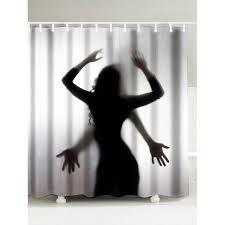 Black White Shower Curtain Portrait Shadow Waterproof Fabric Shower Curtain In Black White