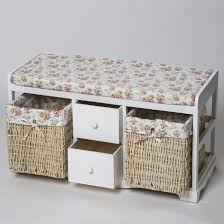 white storage bench with baskets solid wood for bathroom using