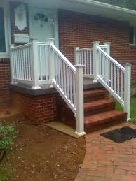Front Porch Banisters White Railing On A Concrete Porch Boling Front Porch Tile And