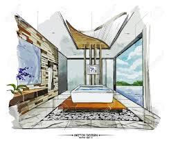 vector interior sketch design watercolor sketching idea on white vector interior sketch design watercolor sketching idea on white paper background stock vector