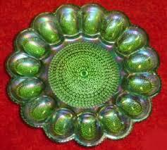 glass egg plate lime green egg plates got it carnival glass