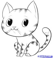 drawn cute cat face pencil and in color drawn cute cat face