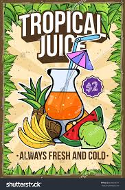 summer tropical multifruit juice bar restaurant stock vector