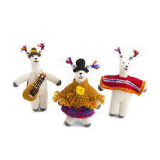 llama with poncho ornament knit in peru global goods partners