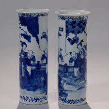 Chinese Blue And White Vase Pair Of Chinese Blue And White Porcelain Vases Manhattan Art And
