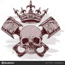 graphic human skull with crown and crossed pistons stock vector