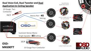 ceiling speaker dual voice coil trimless thin bezel osd audio