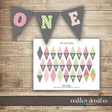 free printable birthday cake banner mini cake bunting pink and lime green first birthday cake