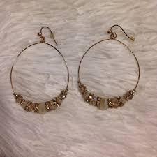 aldo earrings aldo jewelry gold bead hoop earrings poshmark