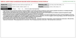 Supervisor Job Resume by Labor Crew Supervisor Job Title Docs