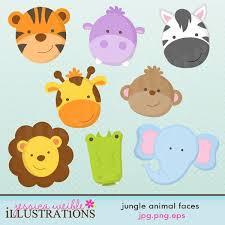 jungle animal faces cute digital clipart commercial