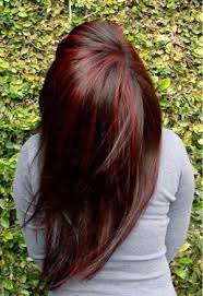 brunette hairstyle with lots of hilights for over 50 red highlights with a dark brown base color great look for fall