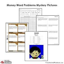 4th grade money word problems mystery pictures coloring worksheets