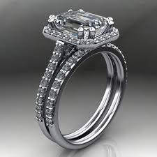 emerald cut wedding set 2 8 carat supernova emerald cut moissanite engagement ring