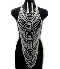 necklace earrings chain images Clever expressions store elegant silver body chain earrings set jpg