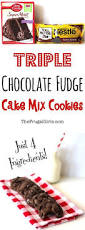 triple chocolate fudge cake mix cookies recipe from