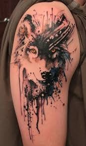 geometric watercolor wolf tattoo photos pictures and sketches