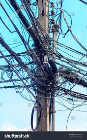 wire electric pole messy chaotic stock photo 138454460 shutterstock