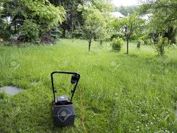 mower and garden overgrown with weeds stock photo picture and