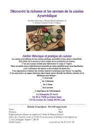 la cuisine ayurv馘ique atelier théorique et pratique de cuisine ayurvédique les sens