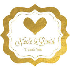 labels for wedding favors personalized metallic foil bracket frame wedding favor stickers