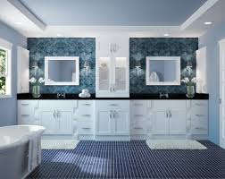 simple white shaker dove city bathroom cabinets with blue mosaic