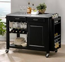black granite kitchen island modern kitchen island cart with granite top in black by baxton