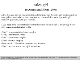 Sample Of Resume For Sales Lady by Sales Recommendation Letter