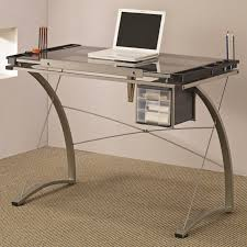 modern artist drafting table desk with gray finish and tilting